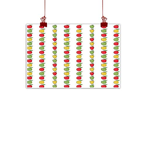 Mangooly Artwork Office Home Decoration Apple,Vertical Pattern of Colorful Hand Drawn Style Ripe Fruit with Green Leaves,Green Red Mustard 32