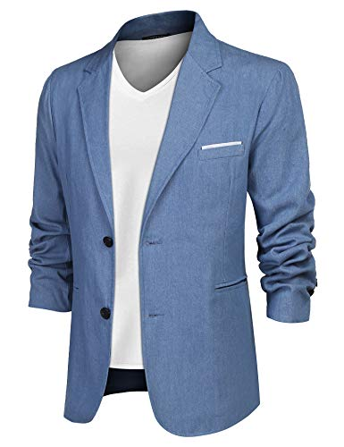 COOFANDY Men Denim Blazer Jacket Casual Suit Cotton Sport Coat Two Buttons Lapel (M, Light Blue)