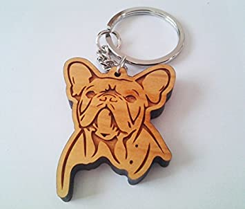 Amazon.com: Bulldog francés de madera llavero, llavero de ...