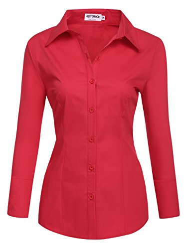 - HOTOUCH Women 32 Singles Long Sleeve Twill Button Down Dress Shirt/Red/Small