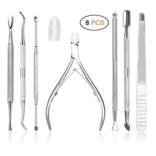 HIFAU 8PCS Premium Cuticle Nippers Pusher Manicure Tools Set, Professional Ingrown Toenail File, Cuticle Remover Trimmer Cutters Tool Gel Nail Art Kit, Stainless Steel, Travel, Gift from HIFAU