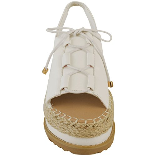 Fashion Thirsty Womens Espadrille Flatforms Wedge Sandals Lace Up Sling Back Shoes Size White Faux Leather bTZ2Gh