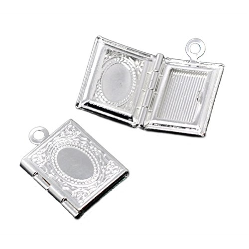 (HOUSWEETY 20PCs Silver Plated Photo Frame Rectangle Setting Locket Pendants 17x12mm)