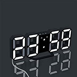 3D LED Digital Alarm Clock Easy To Read at Night, Silent Clock with Snooze, Modern Desk Shelf Table Wall Alarm Clock for Travel Kids Bedroom Heavy Sleepers (Pattern A)