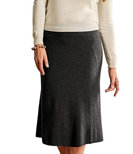 Wool Overs Jupe mi-Longue Chic - Femme - Laine mlange Dark Charcoal