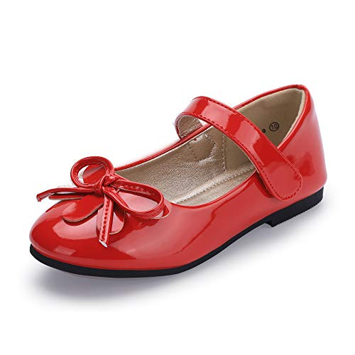 Hehainom Toddler/Little Kid Girl's Emma Mary Jane Ballet Dress Flats Bows School Uniform Shoes (10 M US Toddler, Red Patent) ()