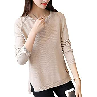 Roohb Pullovers Winter Women's Round Neck Long Sleeve