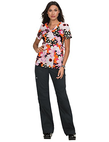 KOI Prints Women's Kathryn Mock Wrap Floral Print Scrub Top Large ()