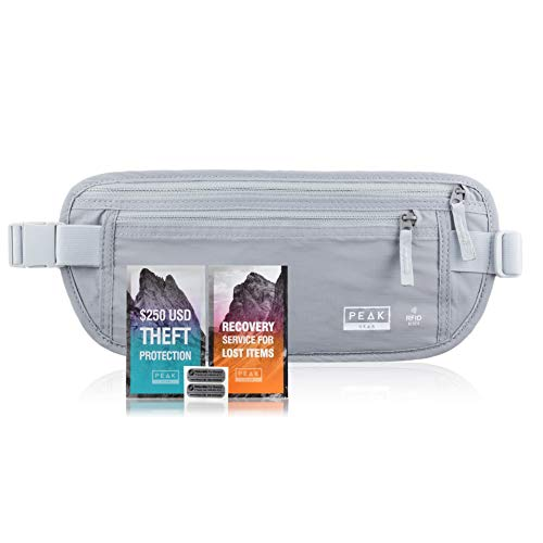 (Travel Money Belt with RFID Block - Theft Protection and Global Recovery Tags (Gray REG - fits most))