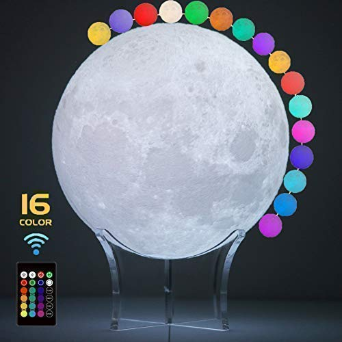 Moon Night Light, 3D Print Baby Luna Moon Lamp with Light Source Protect Eye, 16 Colors of Dimmable Light Decorative Light Moon Lamp, USB Rechargeable, Seamless Moonlight Lamp for Baby Sleep(4.8inch