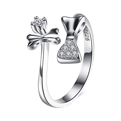 """Love Forever""Sterling silver rings wedding Adjustable size band bowknot zircon bow jewellery"