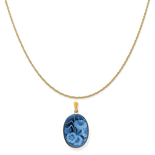 Mireval 14k Yellow Gold Floral Cameo Pendant on a 14K Yellow Gold Rope Chain Necklace, 18