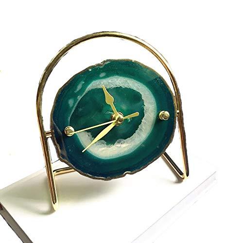 ZUEN Alarm Clock, Alarm Clocks for Bedrooms Clock Agate Decorative Crafts Family Living Room,Green