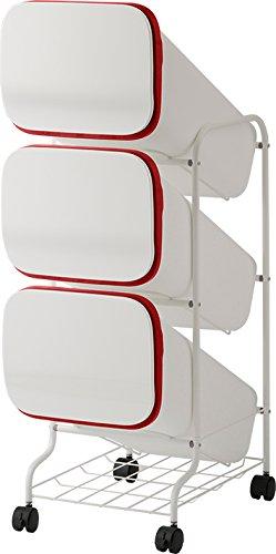 リス URBANO(アルバーノ) 清掃シリーズ スタンドダストボックス(ゴミ箱) 4P WホワイトGETJ040 B01H1786QE ホワイト|4段 ホワイト