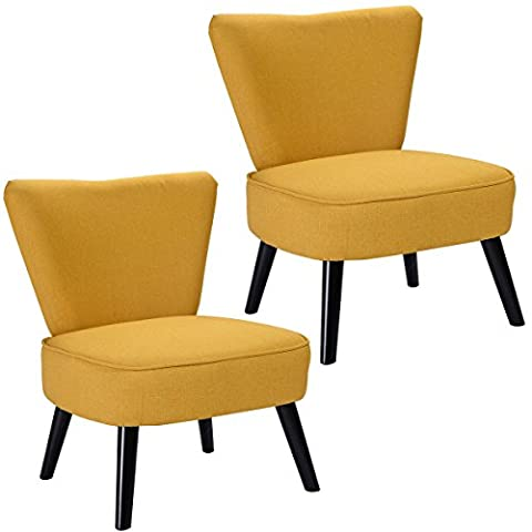 Lookpeech Set of 2 Armless Accent Dining Chair Modern Living Room Furniture Fabric Wood (yellow) (Cello Kitchen Sponges)