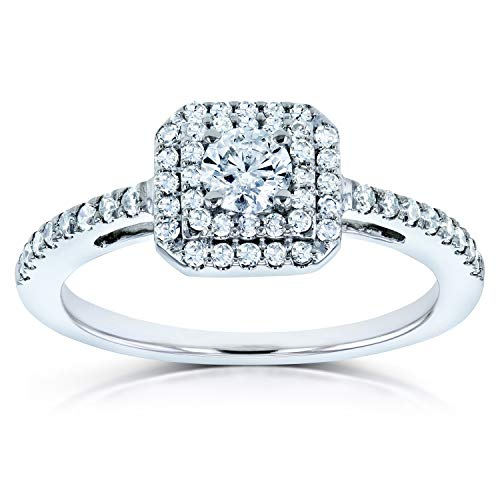 (Diamond Double Halo Engagement Ring 1/2ct TDW in 10k White Gold, 11)