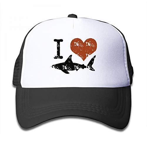 Kid's Boys Girls I Love Sharks Youth Mesh Baseball Cap Summer Adjustable Trucker Hat
