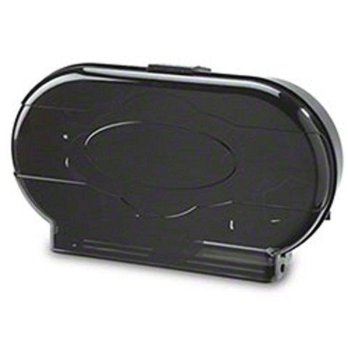 Janico Twin Roll Toilet Tissue Dispenser, Toilet Paper Holder, Break Resistant Plastic Construction, Serrated Bottom, Black