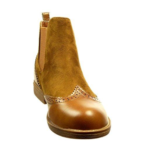 Angkorly - Chaussure Mode Bottine chelsea boots bi-matière femme finition surpiqûres coutures Talon bloc 2 CM - Camel