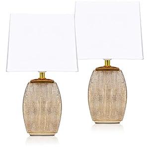 BRUBAKER – Lampe de table/de chevet – Lot de 2 – Design élégant – Hauteur 38 cm – Pied en Céramique/Doré – Abat-jour en…
