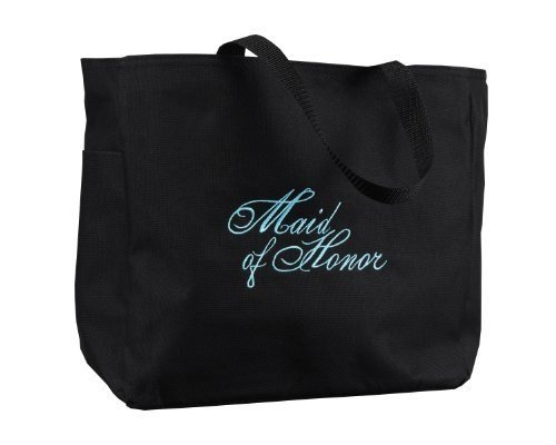 Hortense B. Hewitt Wedding Accessories Black with Aqua Bridal Party Tote Bag, Maid of Honor, 12 by 14-Inch ()