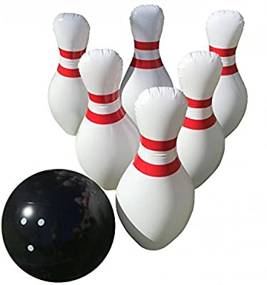 """Giant Inflatable Bowling Set - Indoor Outdoor - Jumbo size - 24"""" Pins and 18"""" Ball - A Great Party Game. Oversized Fun for Kids of All Ages. BONUS: Free Bowling Score Sheets"""