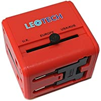 LEOTECH UNIVERSAL TRAVEL ADAPTOR WITH USB RED