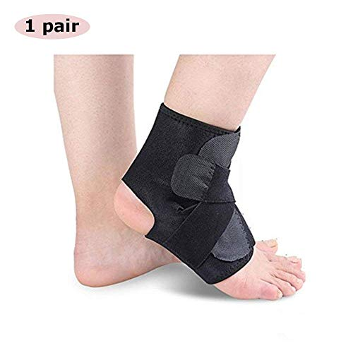 Ankle Brace Foot Orthosis Support Rehabilitation Foot Drop Black Adjustable to Sprained Magnetic Medical Plantar Fasciitis Cover Tendonitis Sleeve Brace to Basketball Soccer Volleyball (1 Pair)