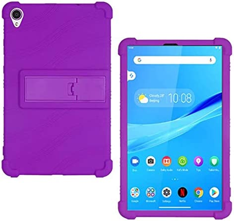HminSen Case for Lenovo Tab M8 FHD TB-8705F TB-8705N Kids Friendly Soft Silicone Adjustable Stand Cover for Lenovo Tab M8 TB-8505F TB-8505X TB-8505I Tablet Cases (Purple)