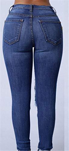 Matita Dunkelblau Strappati A Vita Alta Donna Abbigliamento Denim Bottoni Frontali Elasticizzati Con In Pantaloni Skinny Tasche Leggings Da pwq4nSxTv