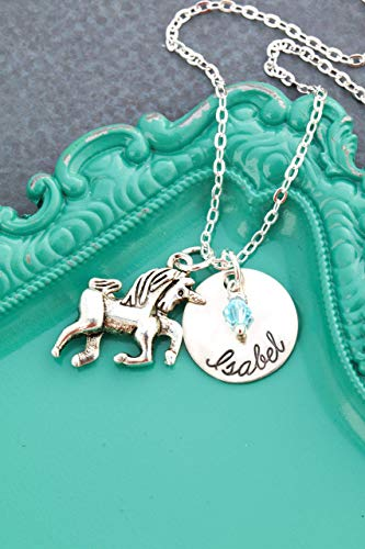 Personalized Unicorn Necklace - DII AAA - Little Girls Gift Fantasy - 5/8 Inch 15MM Disc - Custom Birthstone Handstamped Name