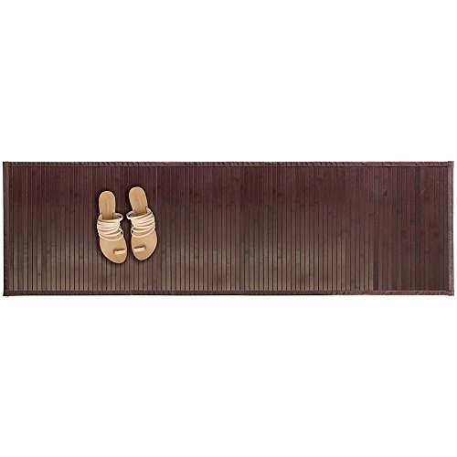 mDesign Water-Resistant Bamboo Floor Mat for Bathroom - Extra Large, Mocha (Complements Bamboo Rug)