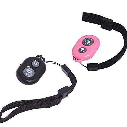 Bestshoot Camera Shutter Remote Control with Bluetooth Wireless Technology - Set of 2 Capture Pictures/Video 30 ft Compatible with iPhone/Android Wrist Strap x 2 (Pink + Black)