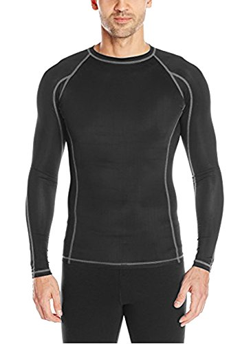 Epic MMA Gear Men's Compression Shirt Long Sleeve (Black/Grey, XL) -