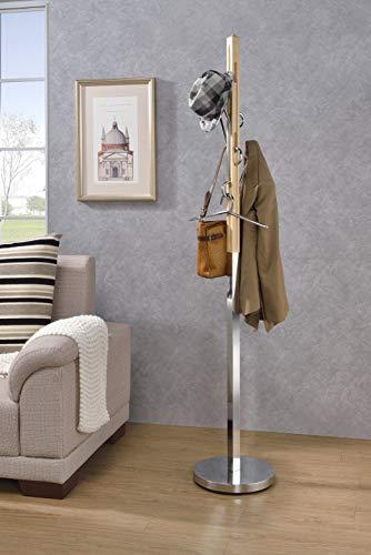 Benjara Benzara BM184779 Freestanding Coat Rack with Multiple Hooks, Brown and Silver,