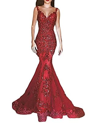 DKBridal Women's Sequins Mermaid Evening Gown V Neck Long Prom Dress