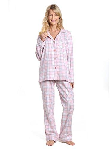 Noble Mount Women's Cotton Lightweight Flannel Pajama Set - Plaid White-Pink - S (Pajama Plaid Set Cotton)