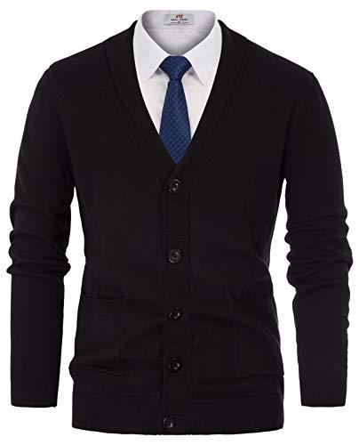 PAUL JONES Mens Soft Shawl Collar Cardigan Sweater with Ribbing Edge Size L Black ()