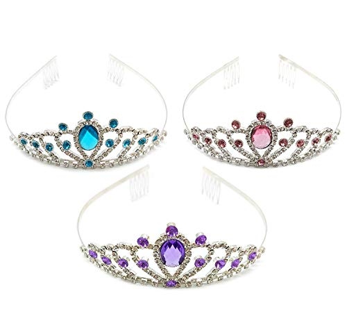 ALEAD Girls Long Satin Princess Dress Up Diamonds Bows Gloves for Kids (3 color tiara) -