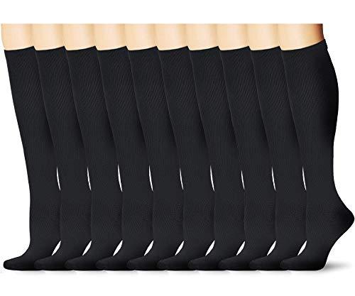 (ODIJOO Compression Socks 15-20mmHg for Men&Women-Best for Running,Pregnancy,Nursing (L/XL(Men:8-12.5 Women:9-14), Black(10 Pairs)))
