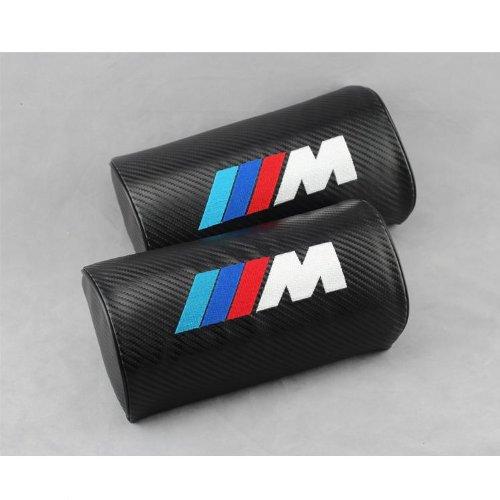 !!2pcs Auto Air Hole Carbon Fiber Car Seat Neck Rest Belt & Headrest Pads Pillow Car Pillow Automobile Repacking for Bmw