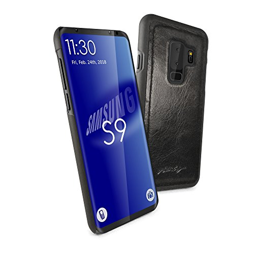 (Alston Craig Genuine Vintage Leather Replacement Magnetic Shell for Samsung Galaxy S9 - Black)