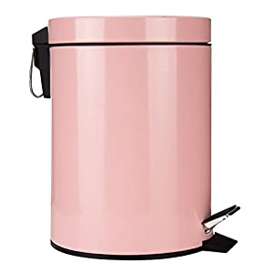 GiniHome Small Trash Can for Kitchen & Bathroom, Garbage Bin - Soft Close, Waterproof and Easy to Clean - 5 Liter/1.3 Gallon (Pink) Round Step Trash Can with Lids