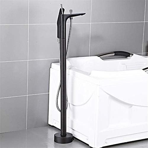浴槽の蛇口 ハンドヘルドシャワー付きフロアマウントバスタブタップ浴室自立蛇口バスタブタップミキサー 浴槽タップ (色 : Black, Size : Free size)
