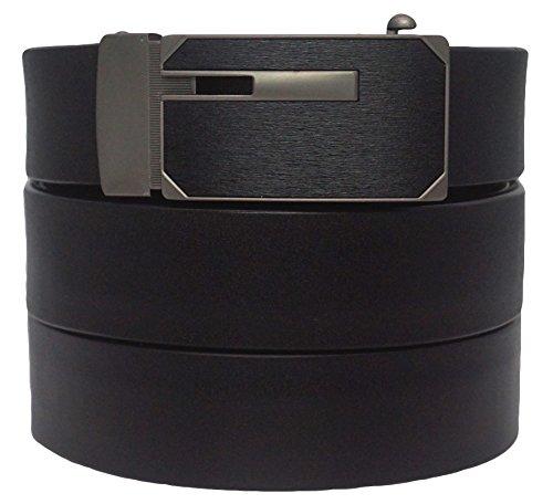 West Leathers Men's Dual-Use Buckle Top Grain Leather Belts Automatic Ratchet Belt Size 38 Style 5 (Mens Premium Leather Dress Belt)