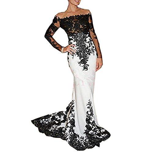 Emmani Womens Long Sleeve Bateau Mermaid Trailing Formal Evening Dresses Ivory 28w