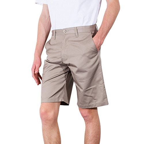 Mens Shorts | Burnside Basic Solid Twill Chino Cell Phone Pocket Short (40, Khaki) (Khaki Shorts Pocket Cell Phone)