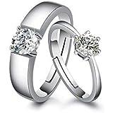 Moneekar Jewels 925 Sterling Silver Plated Couple Promise Rings Combo For Women & Men