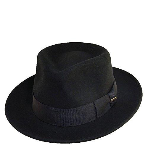 Scala Classico Men's Crushable Water Repelant Wool Felt Fedora Hat, Black, ()