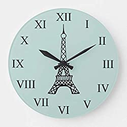 Moonluna Vintage Eiffel Tower Paris Wooden Wall Clock for Living Room Bedroom Kitchen Home Office Decoration 12 Inches